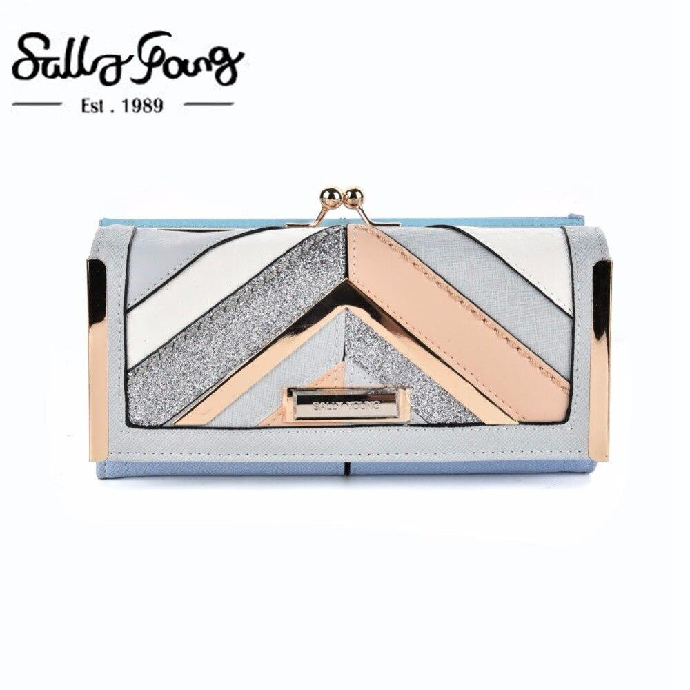 2017 Sally Young International Brand Newest Women Wallet Long Purse Geometric Patchwork Design Hasp Closure Wallet SY5024 2017 newest geometric embossing design 100