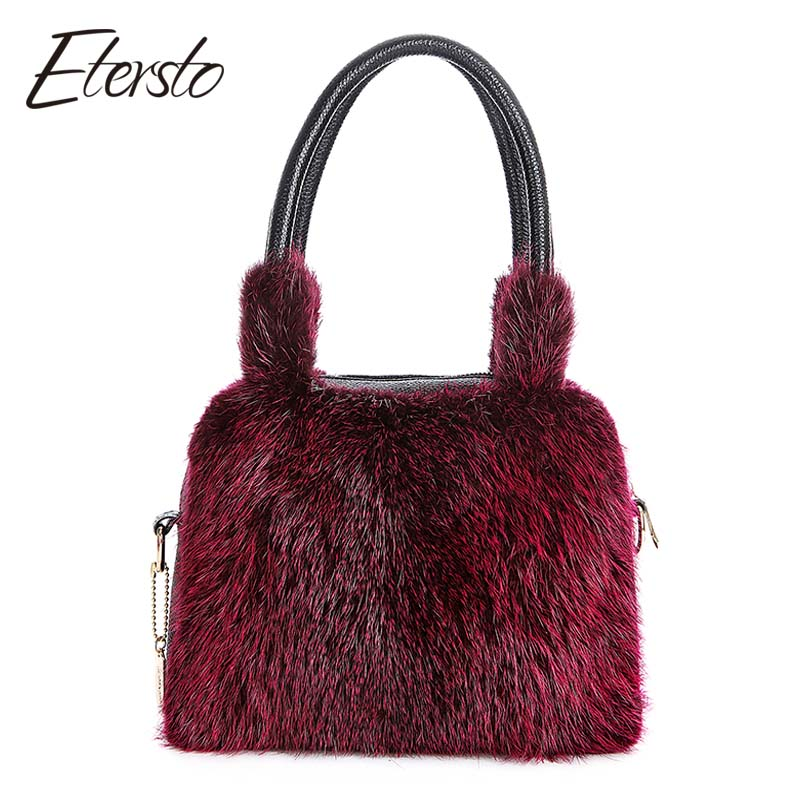 Etersto 2017 New Arrival Real Fur Bags Women Really Fur Crafty Fur Messenger Bags Fashion Solid Fur Handbag Ladies Crossbody Bag etersto 2017 new real brown mink fur women bags leather fur messenger bag solid big handbag fashion ladies crossbody bags
