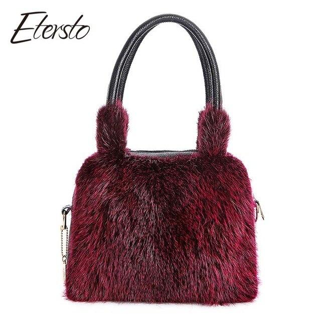 8d3a5869e56f2b Etersto 2017 New Arrival Real Fur Bags Women Really Fur Crafty Fur  Messenger Bags Fashion Solid Fur Handbag Ladies Crossbody Bag