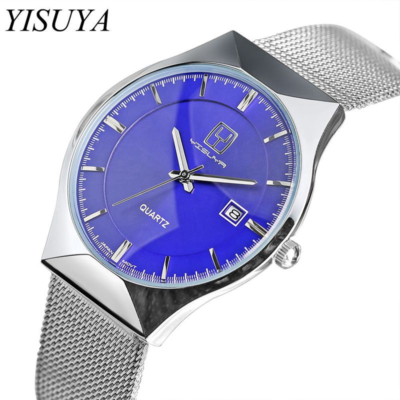 YISUYA Brand Men Watch Stainless Steel Mesh Band Watches Ultra Thin Casual Quartz Wristwatch Date Display Unique Blue Clock Gift