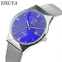 YISUYA Brand Men Watch Stainless Steel Mesh Band Watches Ultra Thin Casual Quartz Wristwatch Date Display