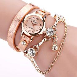 Duoya relógios femininos pulseira relógio de pulso relógios venda quente moda luxo grânulo pingente feminino relógios de pulso relogio feminino 2019