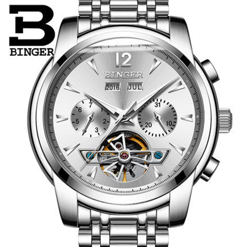 Genuine Switzerland BINGER Brand Men Self-wind waterproof full steel automatic mechanical male Luminous white dial fashion watch mce brand men self wind waterproof leather strap automatic mechanical male black white dial fashion tourbillon watch men clock