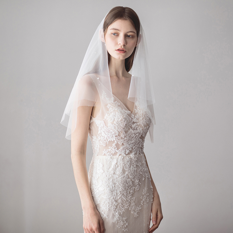 Ivory Pearl Wedding Veils Wedding Bridal Hair Accessories Cut Edge Bridal Veil with Comb Bride Mantilla Wedding Veil