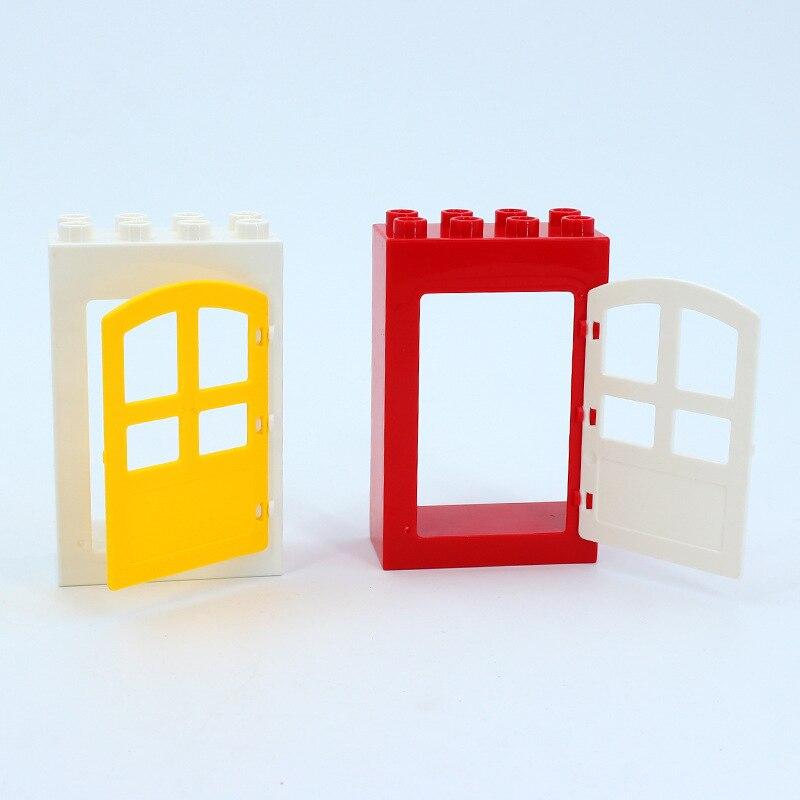 DIY House Big Particles Building Blocks Compatible LegoINGS Duploe Basics Accessory Movable Window Door Set Bricks Kids Toys (18)