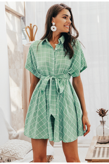 Vestido corto verde cuadros manga corta verano