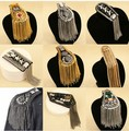 Blazer epaulet /kpop handmade fringed/tassel metal punk shoulder epaulette/spikes brooch women men suit accessories/wholesale