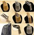 Chaqueta charretera/kpop hecho a mano con flecos/borla punky charretera hombro/picos broche mujeres accesorios de juego/venta al por mayor