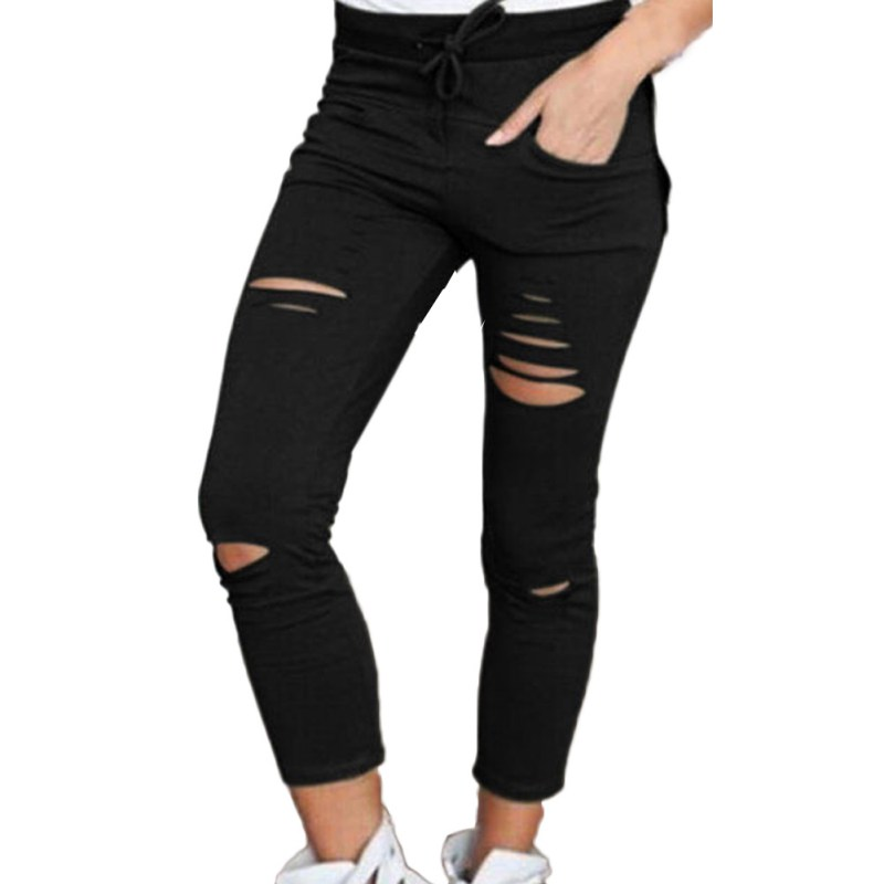 Denim Pants Women Skinny Cut Pencil Pants High Waist Stretch Jeans Trousers Cotton Drawstring Slim Pants
