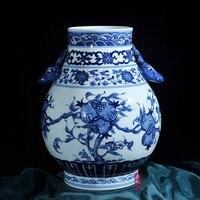 Цзиндэчжэнь керамика античный ручная роспись фарфоровая ваза украшения ремесла баррель Фу уши рога гостиной украшения