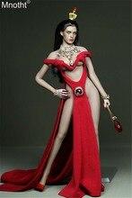 2a4b1d6fb5 Mnotht 1 6 feminino saia vermelha modelo tesouro pedra coração tipo sexy  garfo vestido de noite brinquedos apto para 12in soldad.
