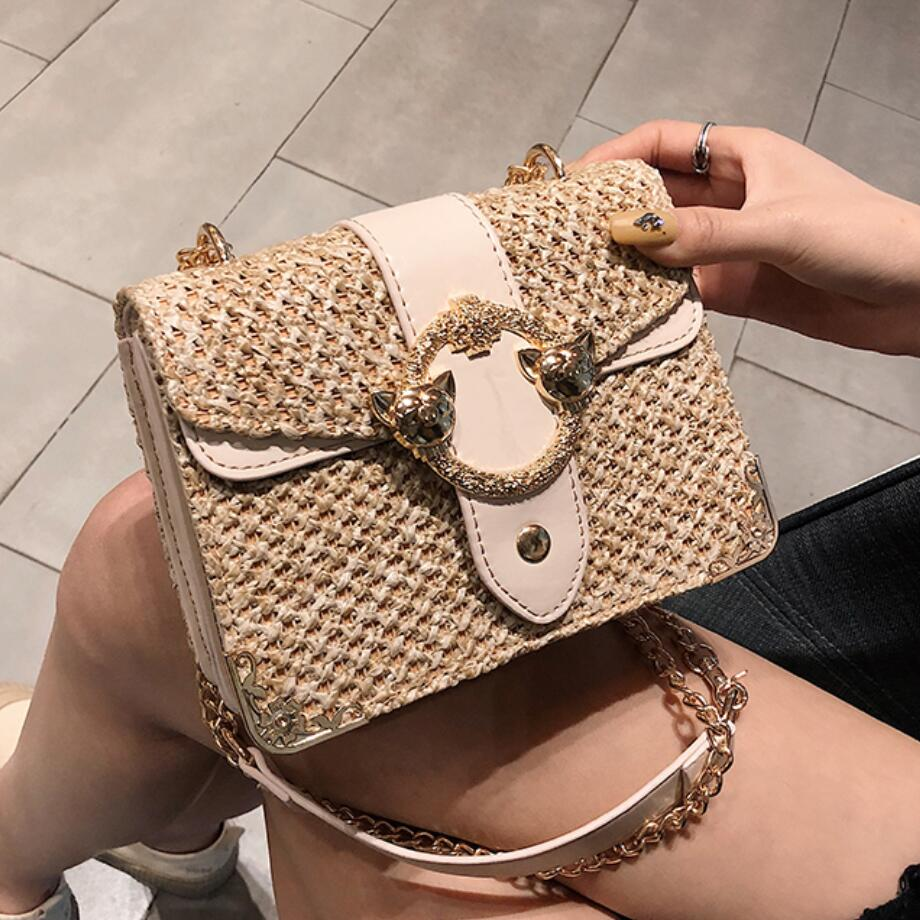 Elegant Female Flap Square Bag 2019 Summer New Quality Straw Women's Designer Handbag Lock Chain Travel Shoulder Messenger Bag