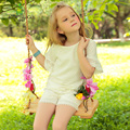 KAMIWA 2017 Summer Girls Clothing Set Short-sleeve Twinset Little Children's Baby Clothes T-shirt And Trousers Children's Sets