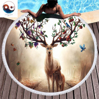 Animal Pattern Round Beach Towel By JojoesArt Multicolor Strandlaken Soft and Comfortable Toalla Playa