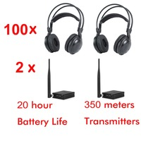 500m 2 channels RF strong low bass classical silent disco headphones package 100 headphones with 2 transmitters
