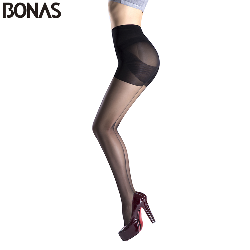 BONAS Cheap Wholesale Tights Summer Style Solid Sexy Slim Nylon Pantyhose Girl Fashion Tights Lady Spandex High Elasticity Waist