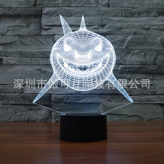 Hot NEW 7color changing 3D Bulbing Light Shallows Jaws shark visual illusion LED lamp creative action figure toy Christmas gift  star wars bb8 droid 3d bulbing light toys new 7 color changing visual illusion led decor lamp darth vader millennium falcon toy