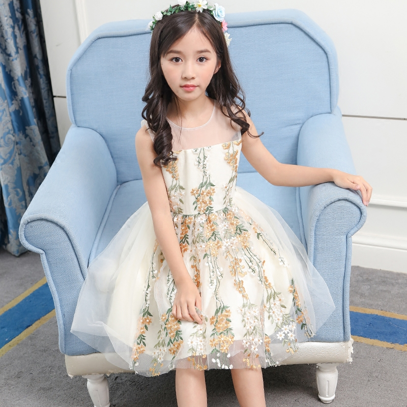 Brand Designers Teens Girl Summer Dress 2018 New Fashion Floral Vest Dress Tulle Child Clothing For 5 6 7 8 9 10 11 12 Years Old the girl new korean pink princess dress summer for size 4 5 6 7 8 9 10 11 12 13 14 years child wedding tutu dress