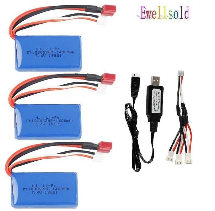7.4V 1400mAh batterie Au Lithium 25c 103052/chargeur USB pour Wltoys A959-B A969-B A979-B K929-B RC voiture