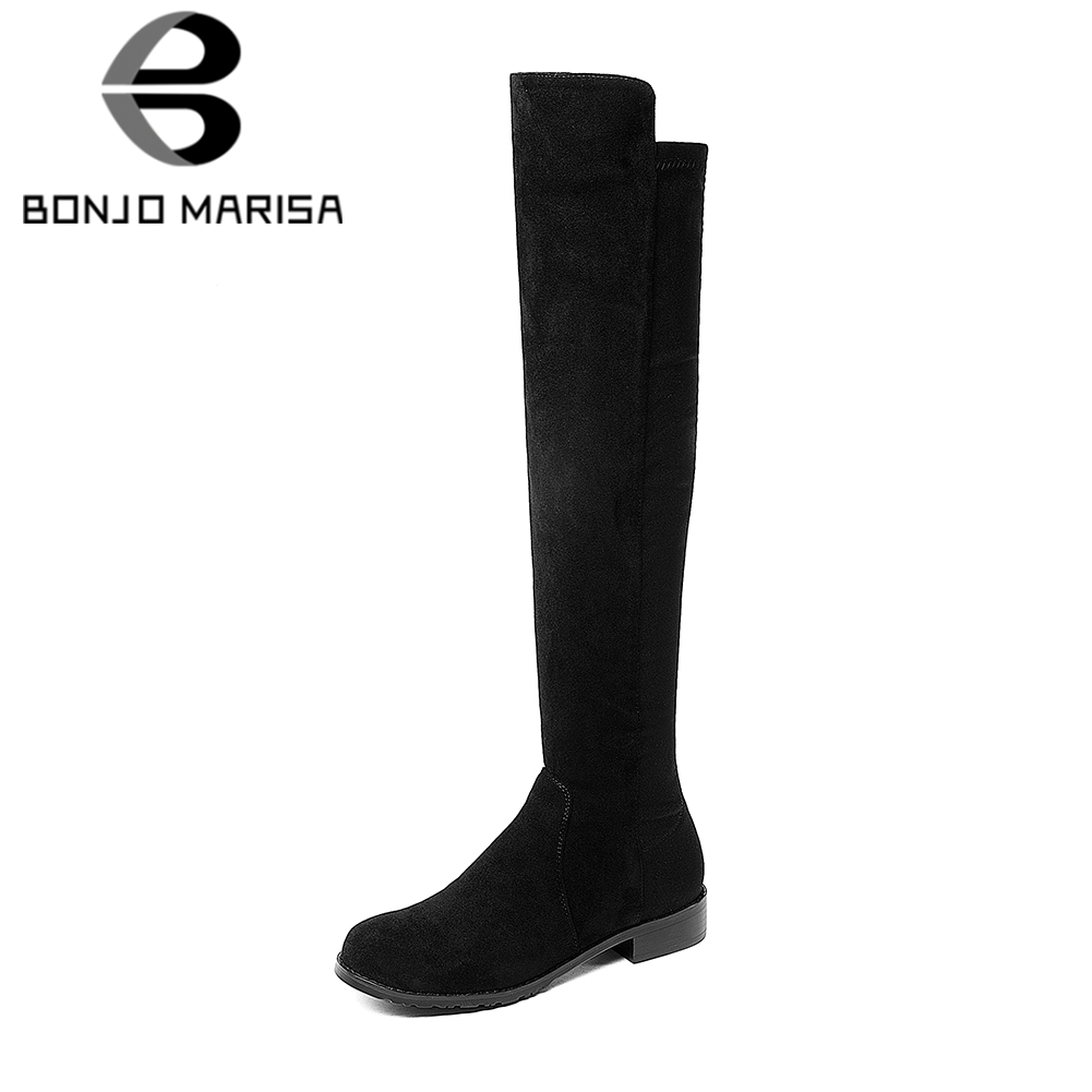 BONJOMARISA 2018 Large Size Top Quality Black knee-high Boots Womens Shoes Leisure Square Low Heels Riding Boots Woman