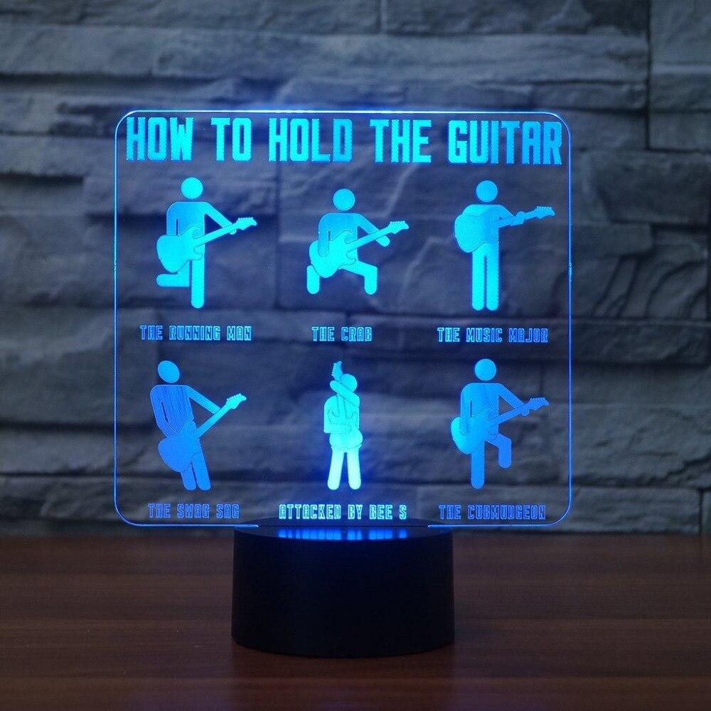 3D визуальный Usb 7 цветов Изменение малыш подарки гитарист моделирование лампы как держать гитара Настольный светильник светодиодный сенсор…