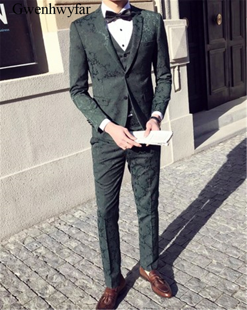 Gwenhwyfar Green Tuxedos For UYoung Men Patterns Printed Men Suit Vest With Pants 3 Piece Slim Fit Wedding Tuxedo Suits for Men-in Suits from Men's Clothing    1