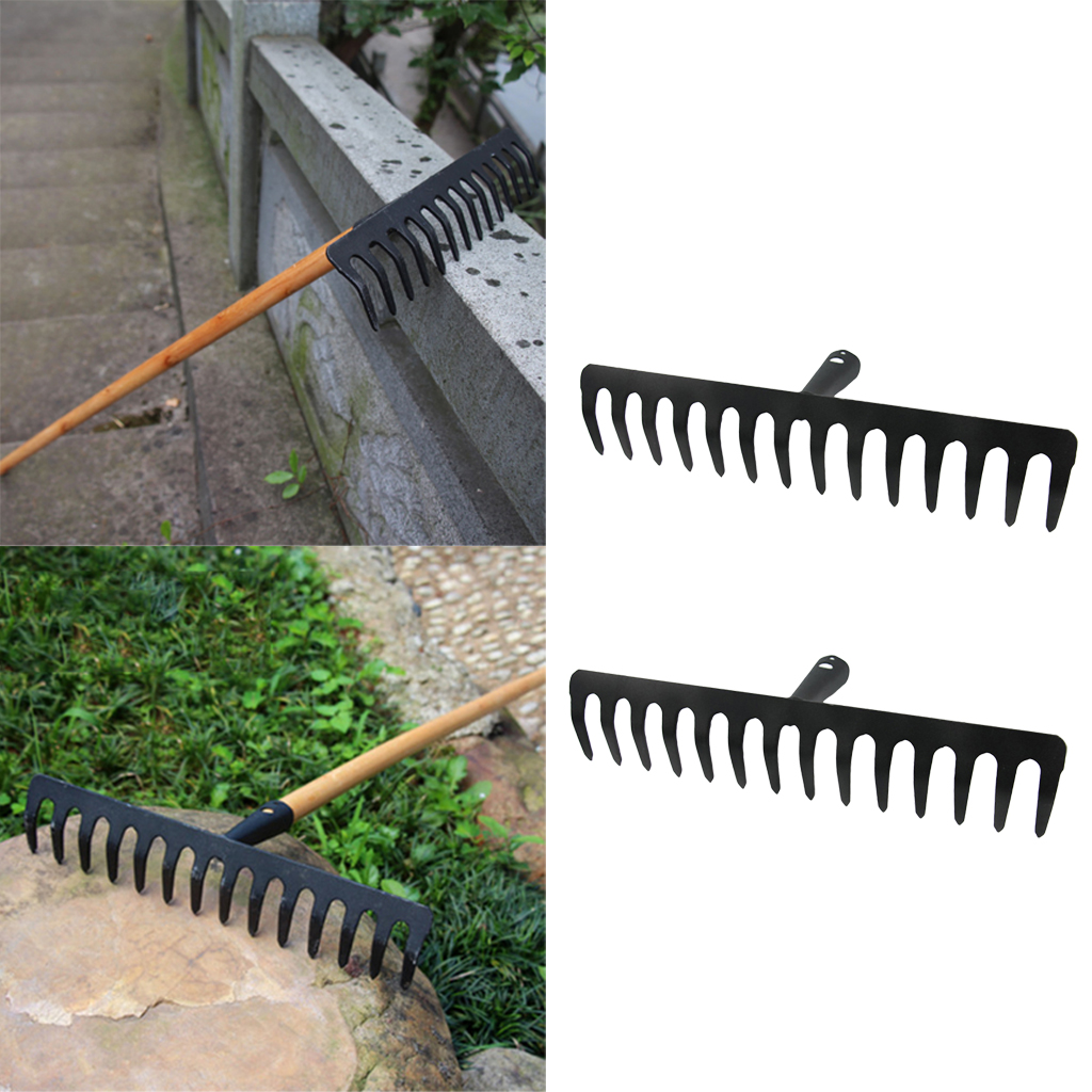 2 Pcs Garden Stainless Steel Rake Head Garden Lawn Good Quality And Durable