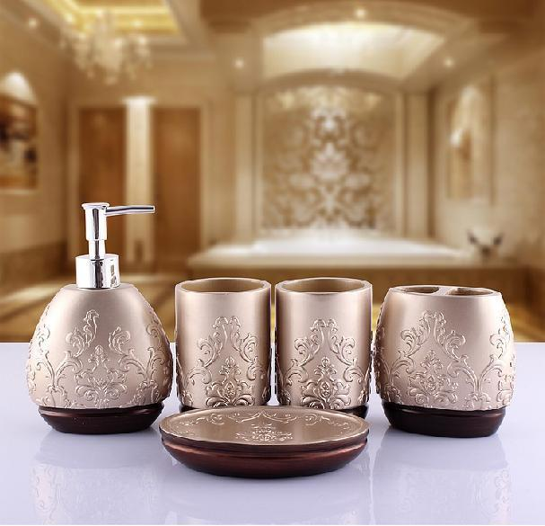 Aliexpress.com : Buy New Arrival Fashion Europe Style Resin Five Piece Bathroom  Set Bathroom Accessories Suit Best Birthday Married Gift From Reliable Set  ...