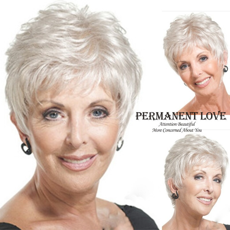 Short Straight Mother Gray Hair Wigs Fashion Heat Resistant Synthetic Hairstyles Grey Wig For Old Women Wigs Wig Comb Wig Secretswig Revlon Aliexpress