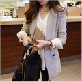 2017 spring autumn new suit jackets women thin long paragraph blazers was thin slim a buckle light gray OL temperament S306