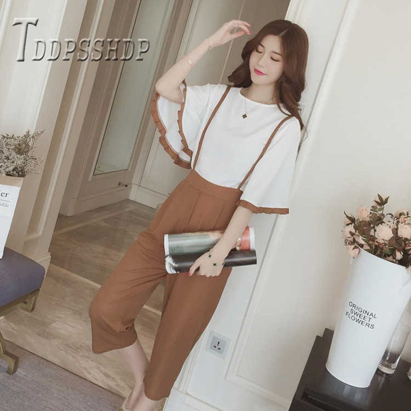 2019 Summer Women Sets White T Shirt And Suspender Pants Female Sets