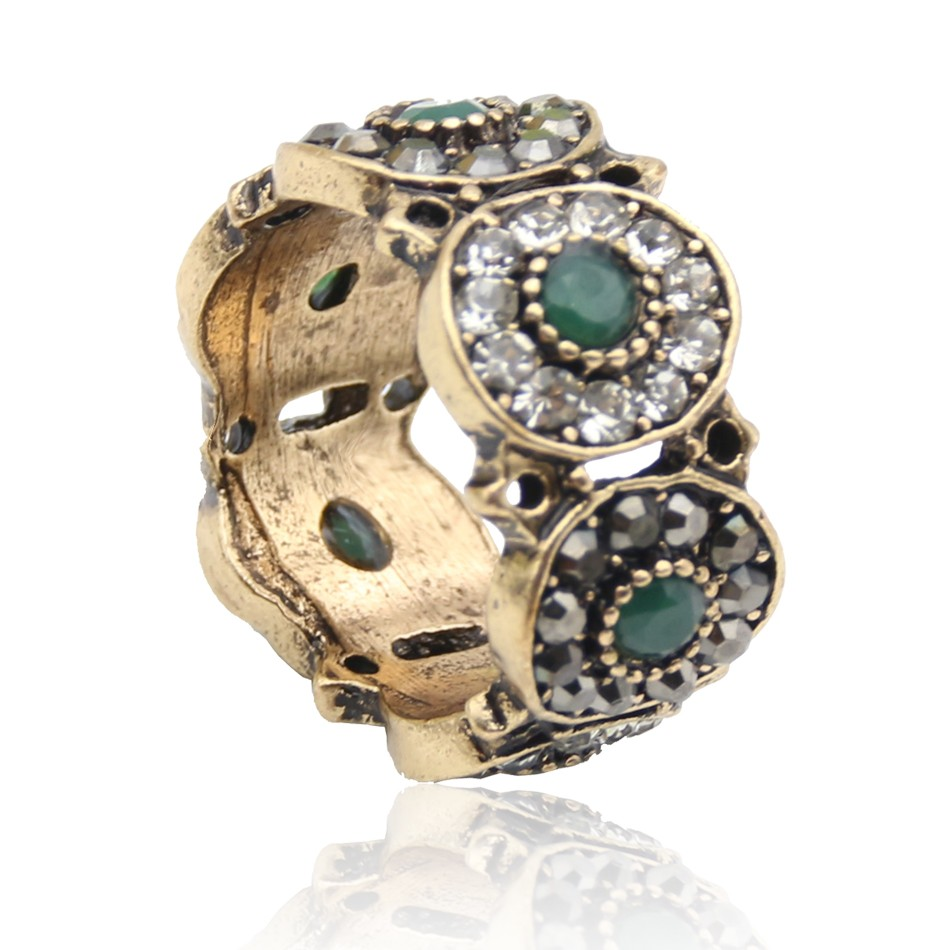 Fashion High Quality Antique Turkish Crystal Floral Rings Retro Gold Color Hollow Out Ring Jewelry Wedding Party Bijoux Gift