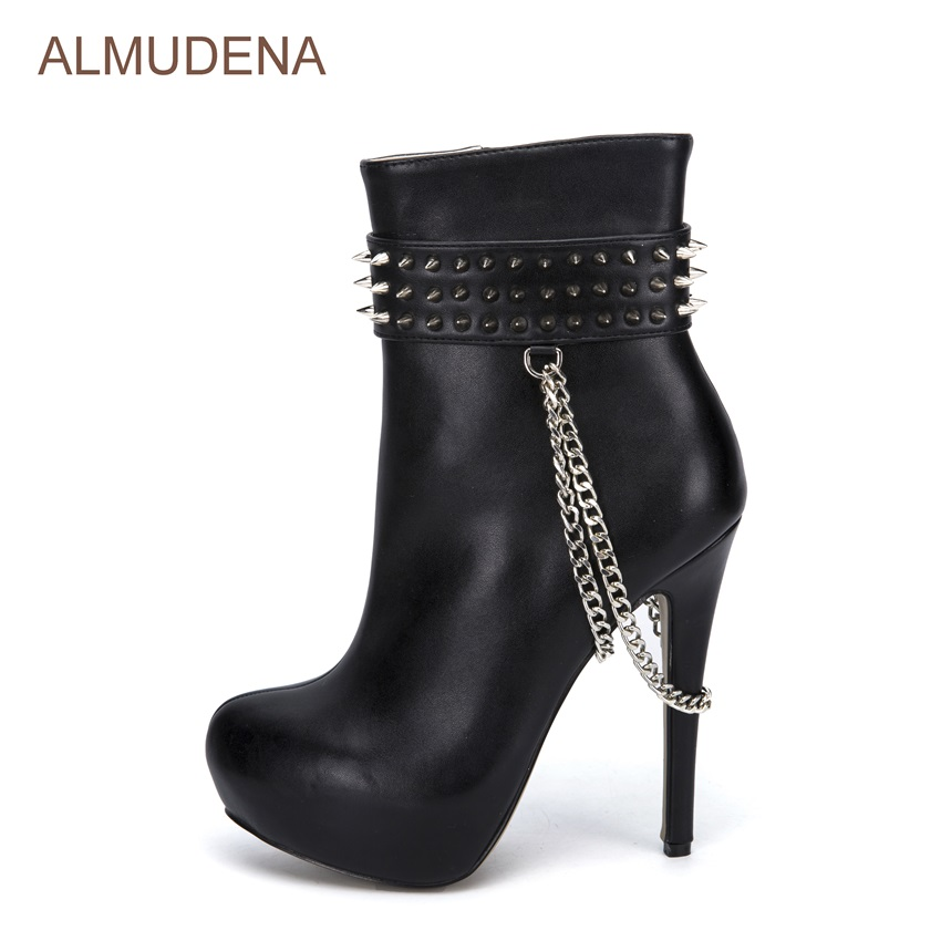 ALMUDENA Black Leather Mid-calf Dress Boots Ultra-high Heel Platform Boots Silver Rivets Decorated Shoes Metal Chain Women Boots trendy women s mid calf boots with solid color and metal rivets design
