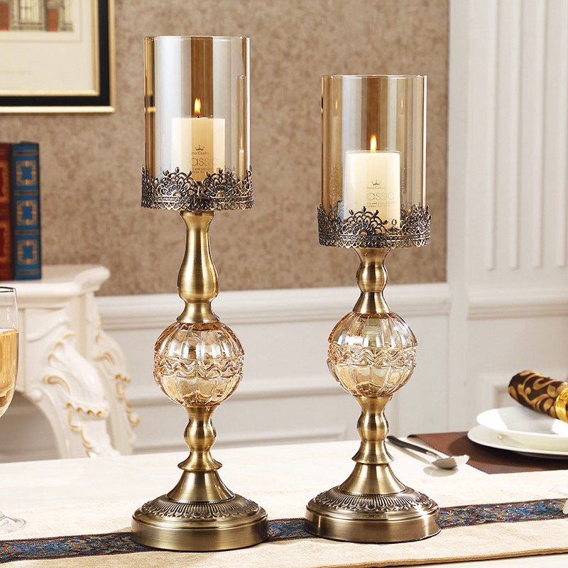 Fancy Home Decoration Items: Luxury American Style Crystal Metal Candlestick Home Decor