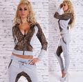 Outono Conjunto sportswear das mulheres da Cópia do Leopardo Zíper casaco com capuz da Camisola Com Capuz Sportswear Suit para As Mulheres roupas casuais