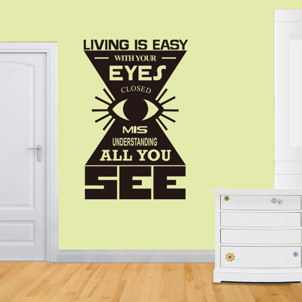 Living Is Easy With Your Eyes Carved Vinyl Wall Stickers Home Wall ...