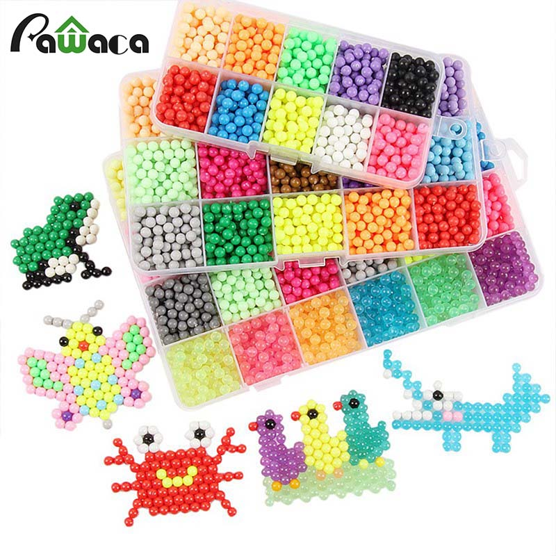 3Size Magic Beads DIY Puzzles For Children Slime Toy Colorful Water Mist Perler Beads 3D Puzzle Pieducational Montessori Toy