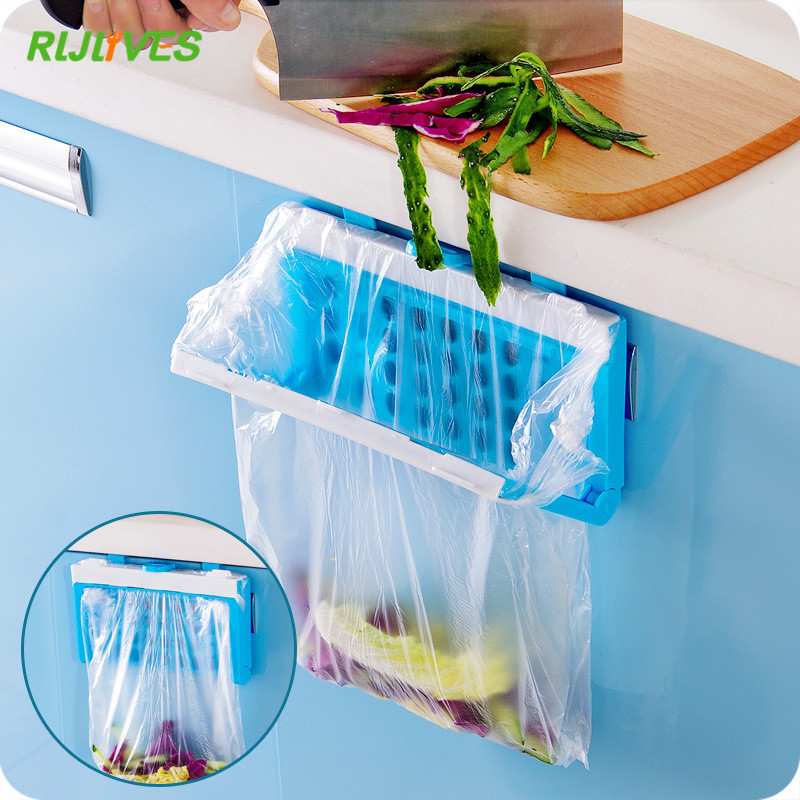 Kitchen Foldable Organizer Garbage Rack Hanging Holder Bathroom Cabinet Cupboard Hanger Shelf For Kitchen Supplies Accessories
