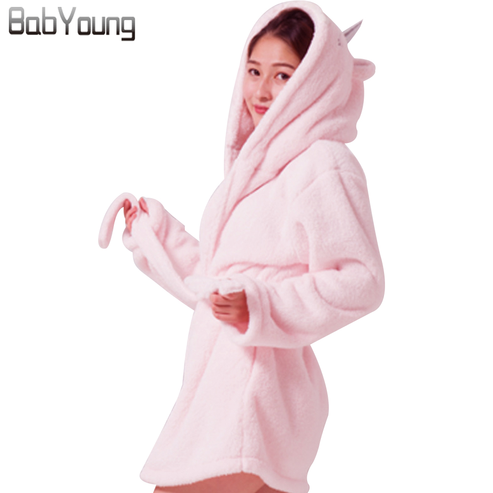BabYoung 2018 Winter Women Robes Flannel Thick Long Sleeve Cartoon Pink Unicorn Hooded Nightgown Warm Female