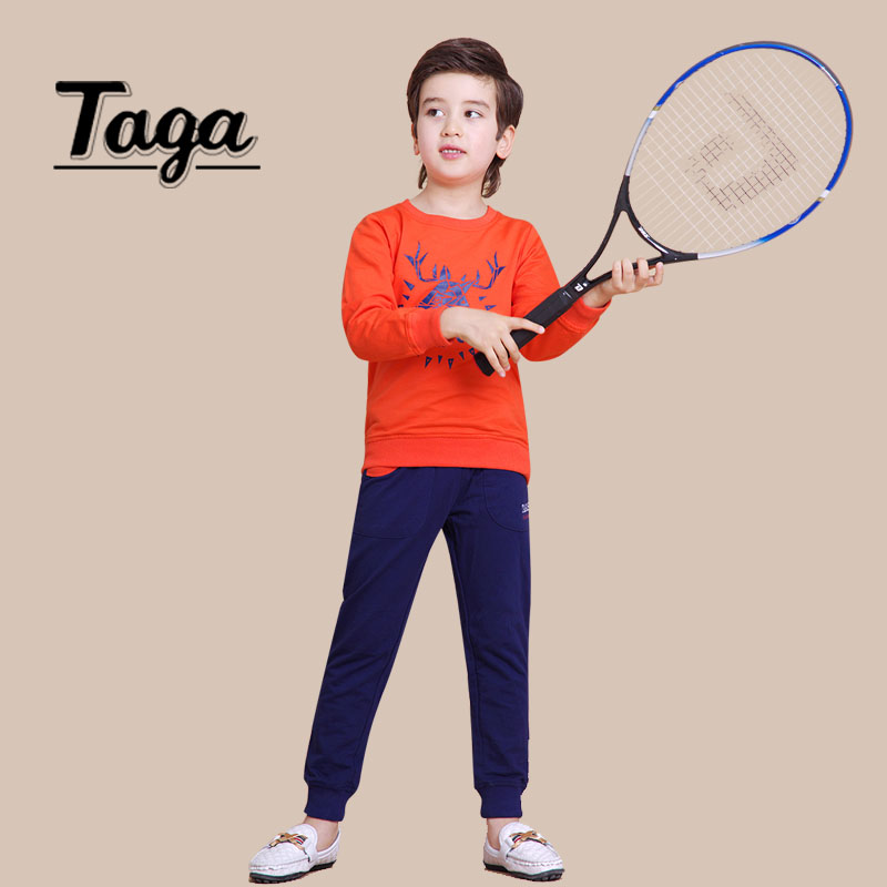 TAGA Kids Boys Long Sleeve Pullover Shirt Sports Trousers clothing set 2016 Spring children Clothes, Casual girls Print costume kids boys long sleeve pullover shirt jeans denim trousers 2016 spring kids clothes casual boys clothing set