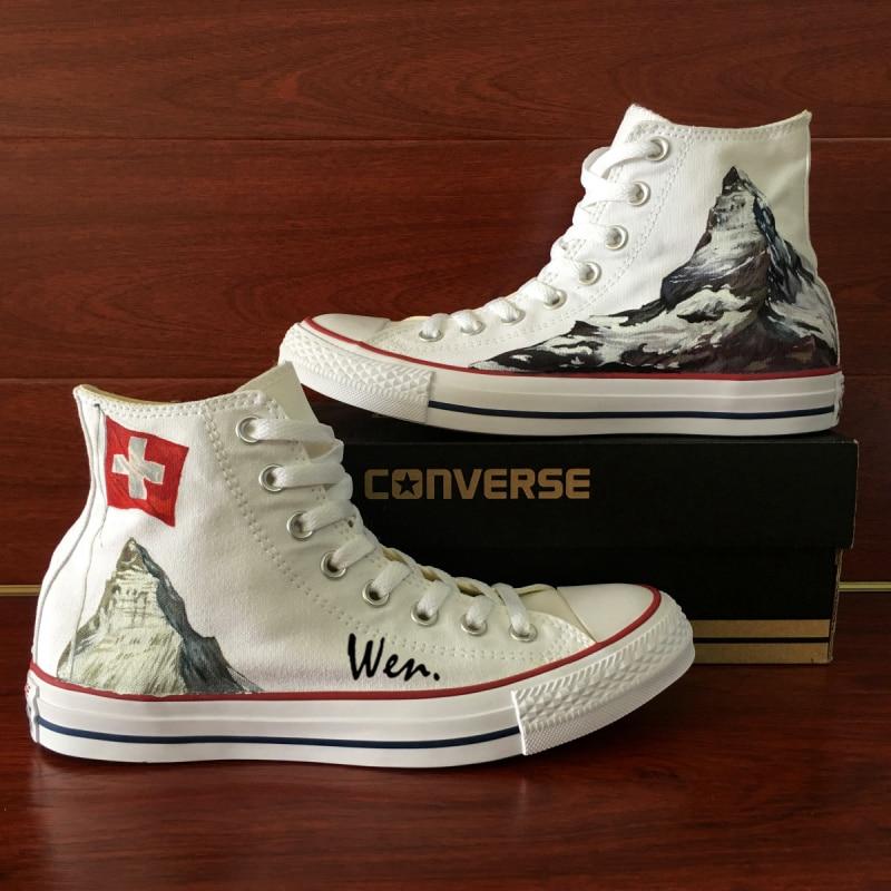 474b3e434128 Switzerland Flag Converse All Star Men Women Shoes Alps Edelweiss Original  Design Hand Painted High Top Canvas Sneakers