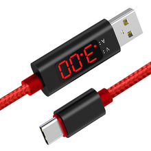 цена на 1m Transmission Type-c Tester Voltage Current Display Data Cable Safe Nylon Line Meter Intelligent Fast Charge LCD Screen USB