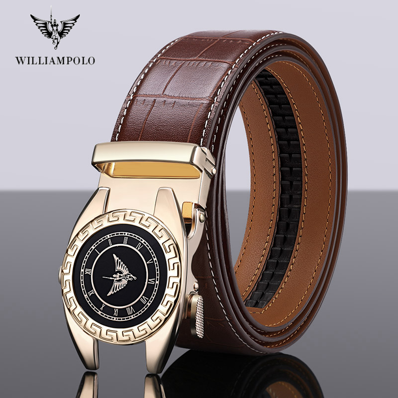 Williampolo Fashion Automatic Buckle Black Genuine Leather Belt Men's Belts Cow Leather Belts For Men 3.5cm Width #19518-20P