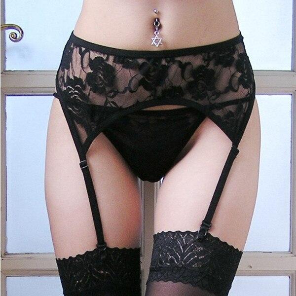 Women Ladies Sexy Lace Flower Suspender Garter Belt G-string Slim Wide Deep For Stockings Hot Sale