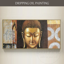 High Skilled Artist Hand-painted Modern Wall Art Buddha Portrait Oil Painting on Canvas Gold for