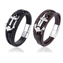 Men Jewelry Black/Brown Braided Leather Bracelet Ship Anchor Rope Chain Stainless Steel Bracelet & Bangles For Cool Boys Gift
