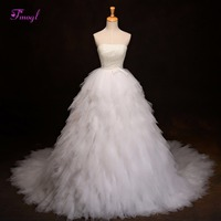 Dreagel Gorgeous Tiered Tulle Court Train Ball Gown Wedding Dress 2017 New Graceful Strapless Pearls Bride