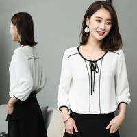 New2018Spring fashion ladies commuter white chiffon shirt O neck 3/4 sleeve female casual blouse tops plus size camisa XL XXXXXL