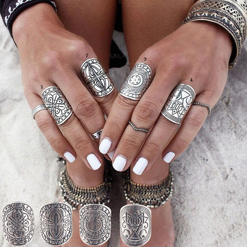 4pcs/set Statement Ring Set Antique Tibetan Gypsy Boho Knuckle Rings For Women Retro Vintage Silver Turkish Jewelry Aneis Anillo