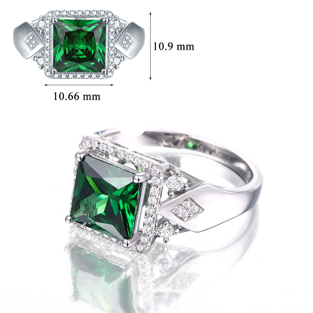 3.72ct Square Created Green Emerald 925 Sterling Silver Rings for Women Engagement Wedding Anniversary-in Rings from Jewelry & Accessories    3